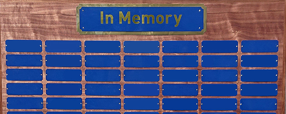 3 foot x 4 foot custom perpetual in memory plaque with 84 blue metal plates measuring 2 in. x 6 in.