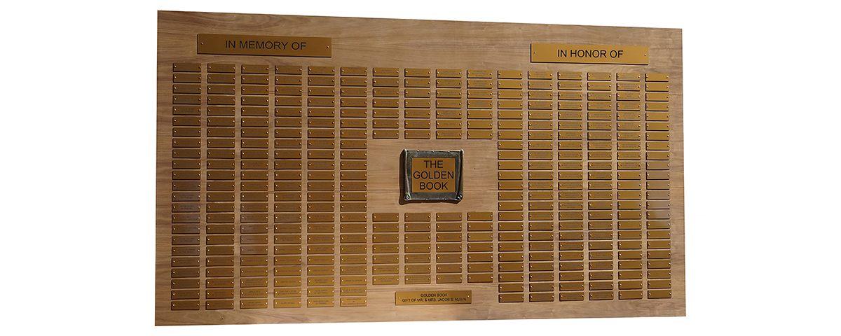 7 Foot x 4 foot custom walnut perpetual plaque with 332 gold plastic plates.