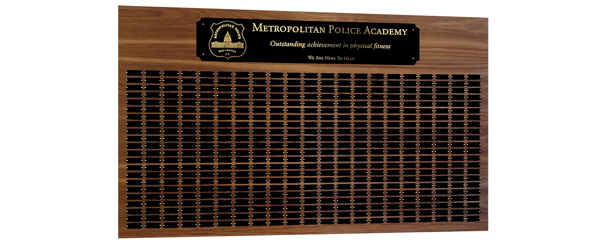 3 Foot x 5 foot custom walnut perpetual plaque with 462 black brass plates. Board finished by MJF Woodworking