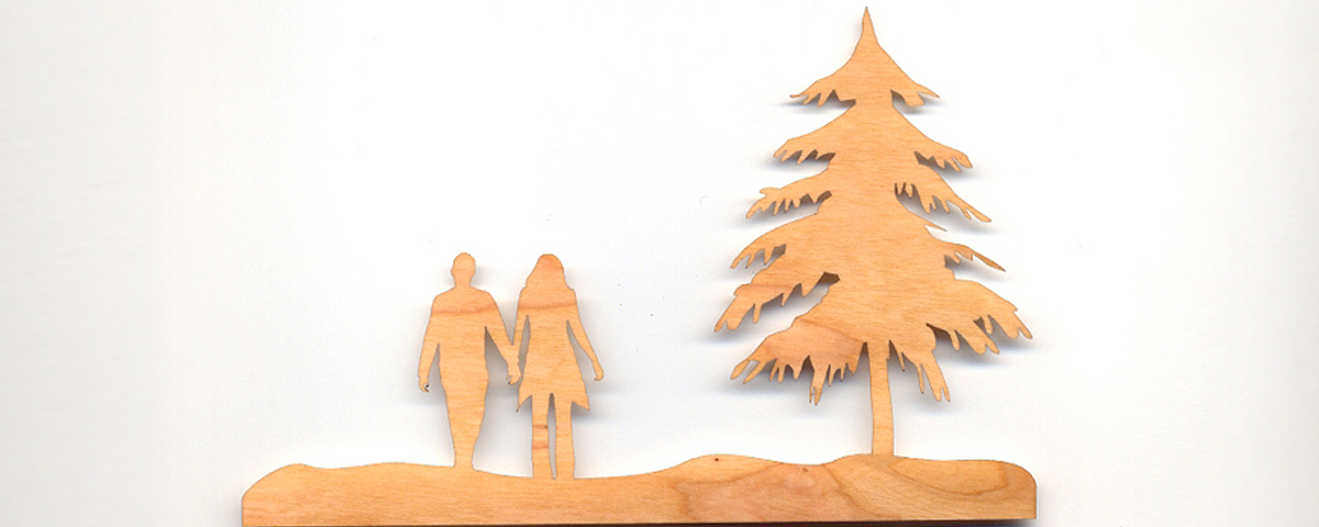Laser cut scene from wood laminate for inlay
