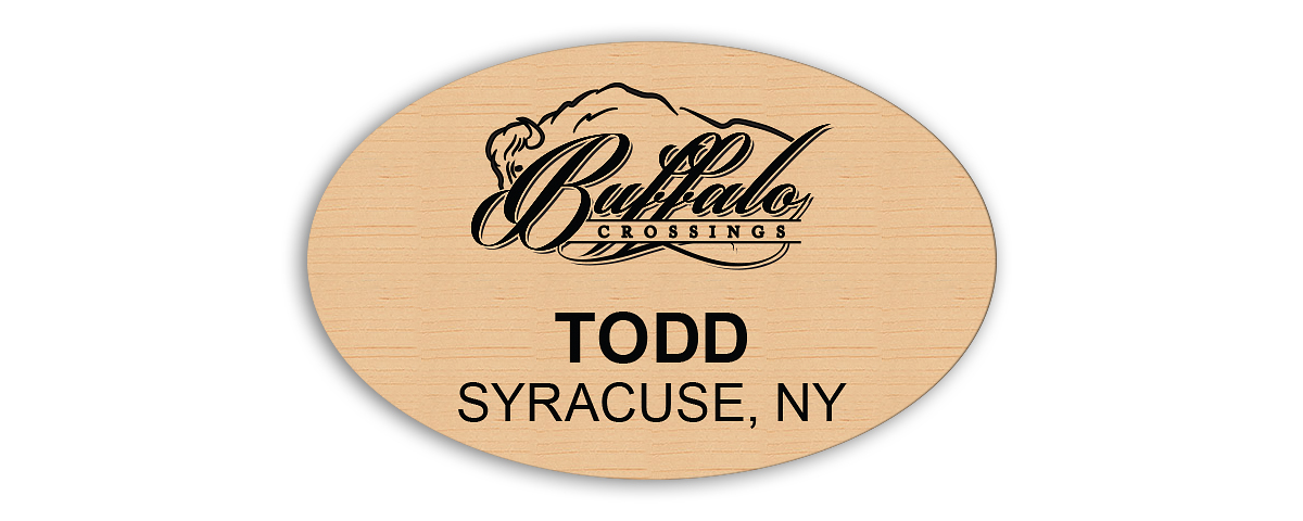 2.75 in. x 1.75 in. Birch/black plastic oval name tag with laser engraved logo, name & title with magnet backing.