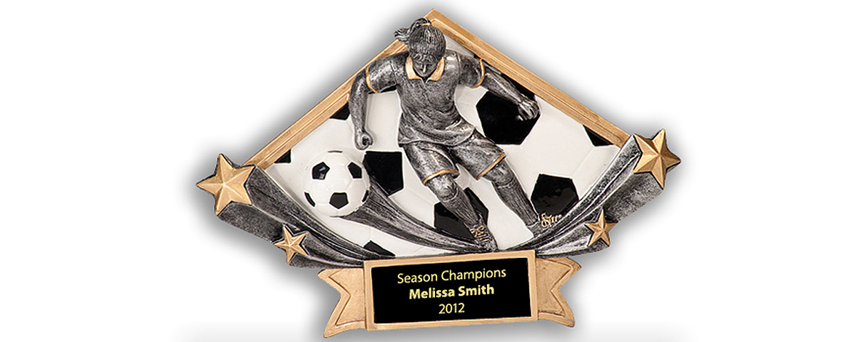 Female soccer resin award.