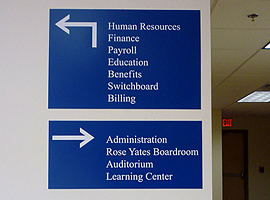 Laser engraved blue directory signs. Top sign measures 12 in. x 18 in. Bottom sign measures 8 in. x 18 in.