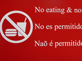 Laser engraved red no food or drink sign in 3 languages measuring 12 in. x 24 in.