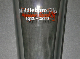 Laser engraved drinking glass.