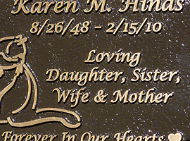 5 in. x 7 in. Bronze memorial plaque with raised letters, dark oxide stain, leatherette background & through-the-face mount.