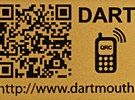 Laser engraved 2 in. x 8 in. trail sign with engraved QR code.