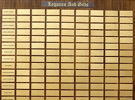 5 foot x 3 1/2 foot custom walnut perpetual plaque with 243 gold plastic plates &amp; beveled edges. Board finished by <a href='http://www.mjfwoodworking.com' target='new'>MJF Woodworking</a>.