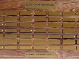 2 foot x 3 foot 7 in. custom solid walnut perpetual plaque with 49 gold plastic plates &amp; beveled edges. Board finished by <a href='http://www.mjfwoodworking.com' target='new'>MJF Woodworking</a>.
