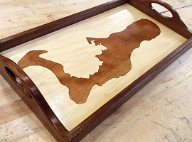 Laser cut & engraved custom wood serving tray.