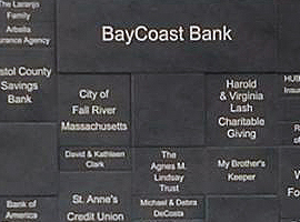 Laser engraved & color filled Corian donor wall. Overall size measures 30 in. x 58 in.