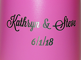12 oz. Engraved pink insulated stainless steel wine goblet.