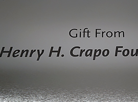 10 in. x 18 in. Laser engraved brushed silver plastic donor sign.