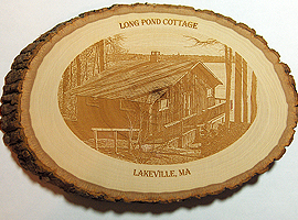 Photo engraving on 8.25 in. x 5.5 in. basswood round.