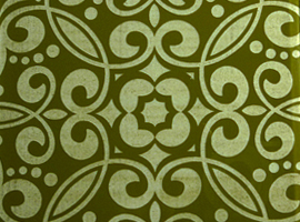Engraved olive green glass tile, measures 4.25 in. x 4.25 in.