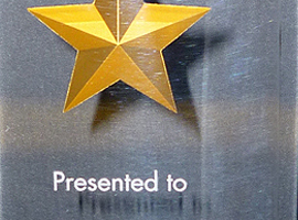 2 7/8 in. x 8 in. Constellation series acrylic award with gold paint-filled etched star and mirrored bottom.