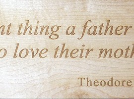 Laser engraved maple wooden sign measures 3 in. high x 12 in. long.