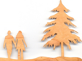 Laser cut scene from wood laminate for inlay.
